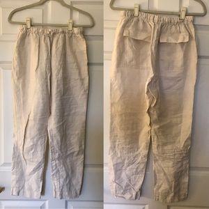 ZARA Linen 🍃 Drawstring Pants 🍃 Cream Small